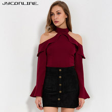 Buy JYConline Sexy Shoulder Chiffon Blouse Tops Women Fashion Halter Back Zipper Shirts Flare Sleeve Elegant Women Blouse Tops L