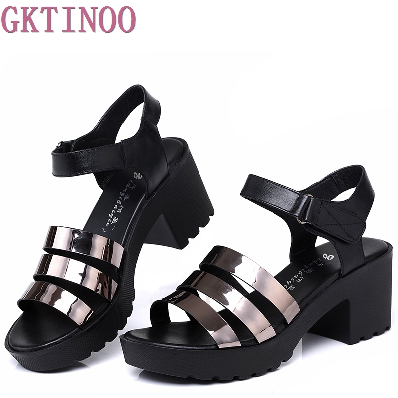 Women Sandals Genuine Leather Platform Thick Heel Summer Shoes Open Toe Sandals Platform Womens Shoes Plus Size 34-42<br>