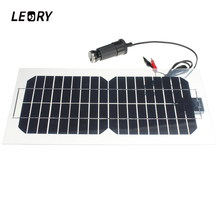 LEORY 5.5W 18V Silicon Solar Panel Semi-Flexible Transparent Monocrystalline Solar Cell Sun Engergy Power+2 Clips+USB Charger