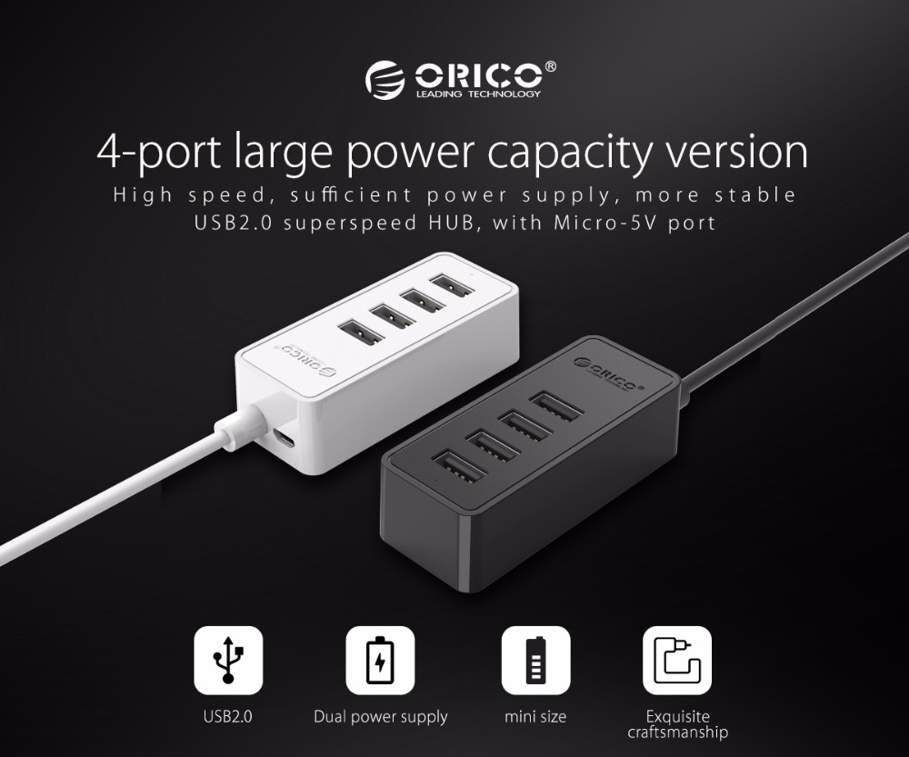 ORICO 4 Ports USB 2.0 HUB Micro USB and Type-A Input for Laptop Computer Phone Tablet Ultrabook 15CM Dada Cable Portable Black 2