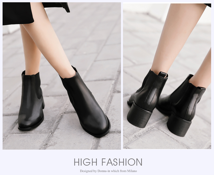 Donna-in genuine calf leather winter boots classic Chelsea boots round toe thick heel natural leather women boots (22)