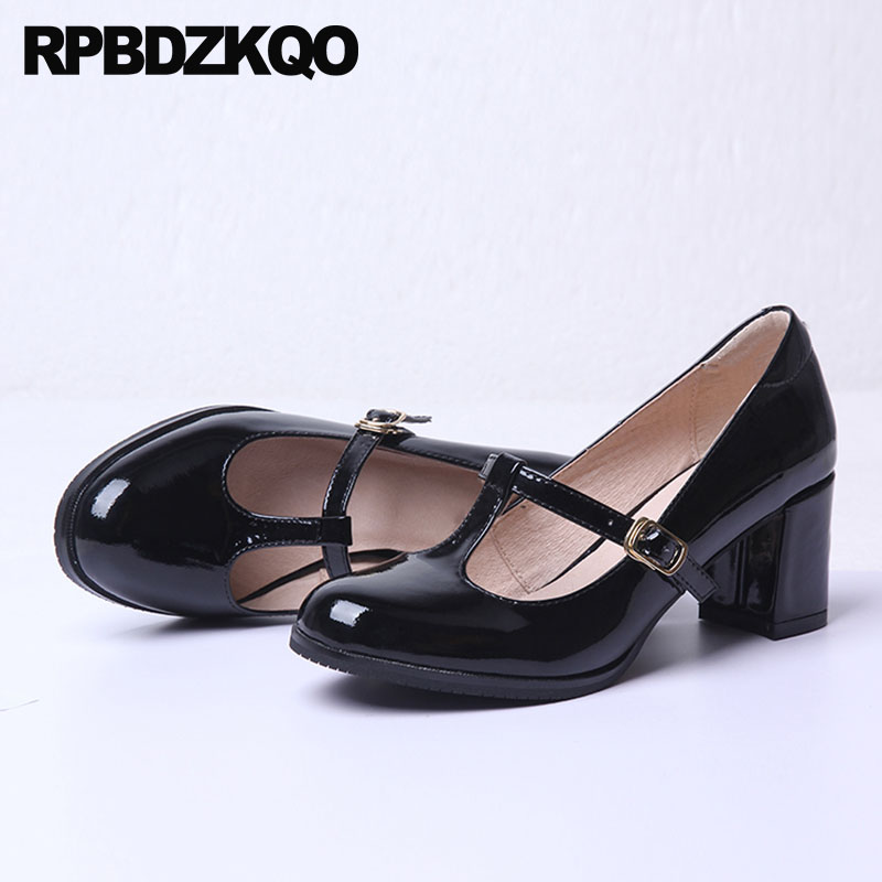 Sweet Women/'s Mary Jane Block Round Toe Patent Leather Ankle Strap Dress Shoes