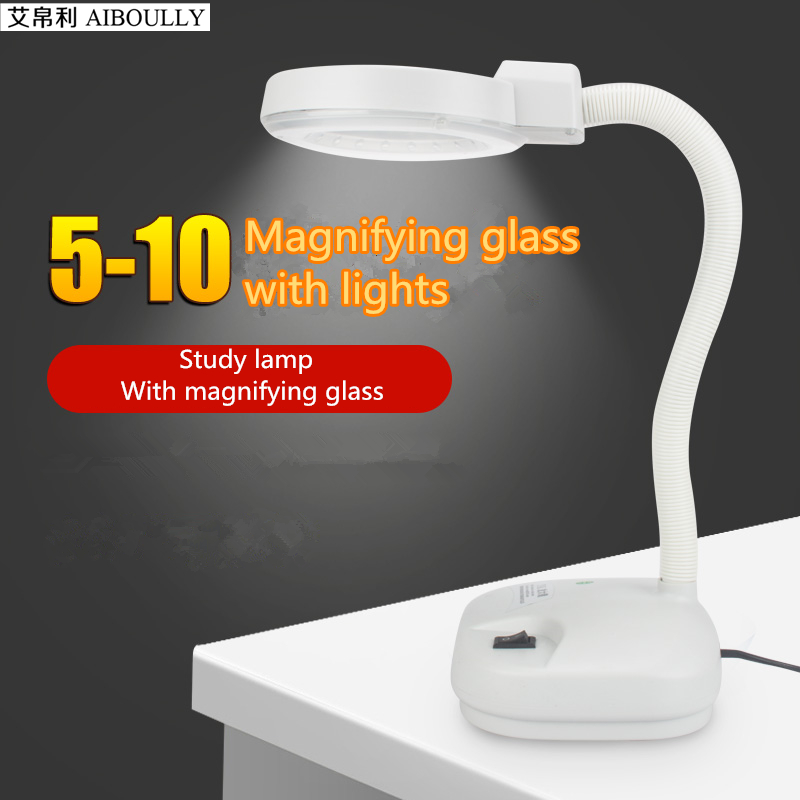 AIBOULLY Household LED table lamps with magnifying glass European minimalist style lamp Read maintenance toolsWhite table light<br>