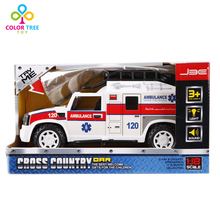 Simulation Inertial Ambulance With Light Music Plastic Model Car Collectable Toys Christmas Gifts For Boys(China)