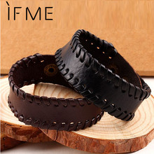 Fashion Punk Charm Wrap Leather Bracelets & Bangles Braided Rope Wristband Men Bracelet Jewelry Black and Brown Colors Gift