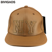 2016 New Fashion Autumn Winter Snapbacks Thick PU Leather NY Letters Hip Hop Cap Casual Baseball Caps Bones Gorras For Men Women