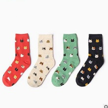 2017 New Promotion Calcetines Mujer Christmas Socks The Latest Animal Cartoon For Life Series Lovely Cute Cotton Tube Socks(China)
