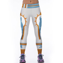 JESSINGSHOW Women Sports Leggings Leggins American Football Team Dolphins Printed Fitness Running Jogging Trousers Workout Pants(China)