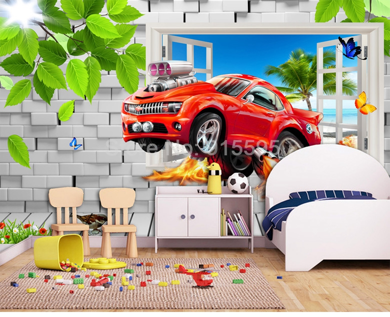 HTB1KvREjIbI8KJjy1zdq6ze1VXaj - Pastoral Style Children Room Bedroom Wall Decoration Mural Wallpaper 3D Stereoscopic Window Cartoon Car Broken Wall Large Murals