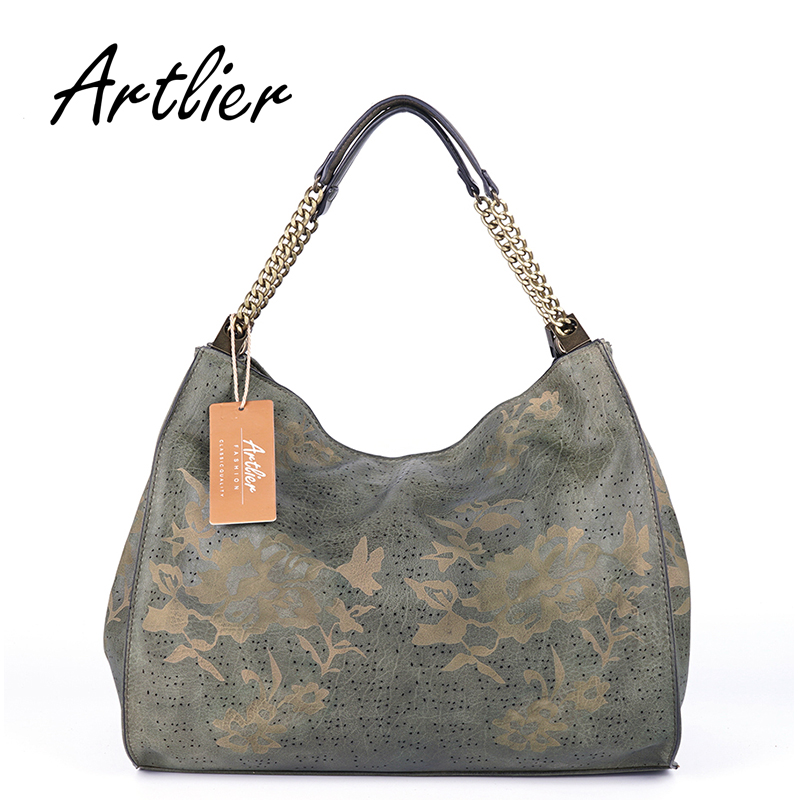 ARTLIER Women Bag Hollow Out Ombre Handbag Floral Print Shoulder Bags Ladies Pu Leather Chain Tote Bag Female Half Moon Hobo Bag<br>