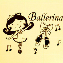 Ballet shoes girl dance studio backdrop children's room wall stickers affixed stickers music theme