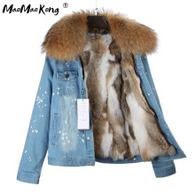 2017new fashion brand women denim coat girl denim jacket real rabbit fur thick lining raccoon fur collar bomber jacket keep warm(China)