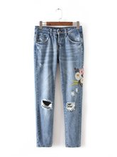 XC55-618 Europe and the United States fashion wind flowers embroidered jeans