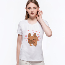 Kawaii Funny Women Top Shirt Shy Dog Pugs Red Heart Kiss Lover Printed T-shirt Novelty Short Sleeve Top Tees L10-C50(China)
