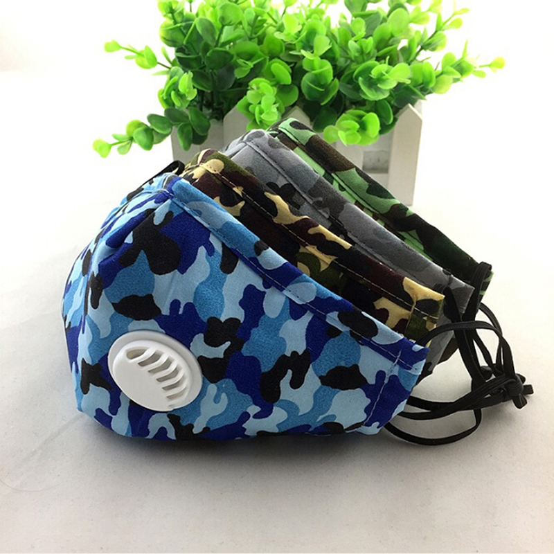 Camouflage Respirator PM2.5 Mouth Mask Valve Vertical Folding Nonwoven Valved Activated Carbon Anti Fog Dust Reusable Masks