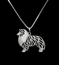 Hot Sale 10pcs Standing Shetland Sheepdog Necklace 3D Cut Out Dainty Puppy Dog Pendant Memorial Necklaces Pendants Christmas