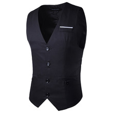 2017 new fashion men's waistcoat Chest decoration many buttons men's large size vest Gentleman ma3 jia3(China)