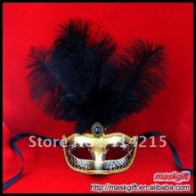 12PCS Free Shipping Beautiful Black And Gold Feather Masquerade Party Venetian Mask (A009BG)