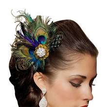Best Sale Peacock Feather Rhinestones Bridal Wedding Hair Clip Head Pin Hairpin gift (Gorgeous)(China)