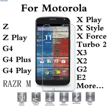 Tempered Glass Case For Motorola Droid Turbo 2 E3 M Moto G4 G3 G2 Play Plus Z Force X Style Play E2 X3 X2 Protector 2.5D Pro 9H(China)