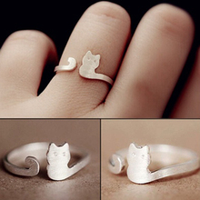 Women Fashion Jewelry Xmas Gift Cartoon Cat Sliver Plated Open Adjustable Ring(China)