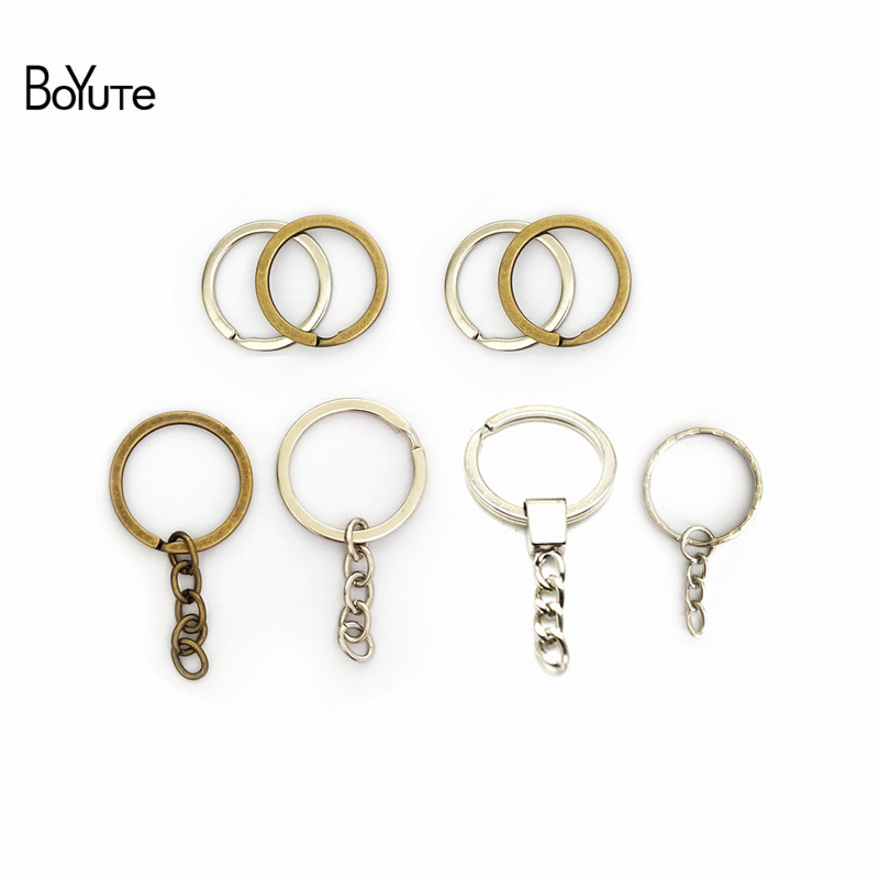 BoYuTe (100 Pieces lot) 28MM 30MM Metal Key Chain Ring Round Split Keychain Keyrings Diy Jewelry Findings Components (1)