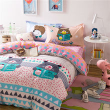 lovely teddy bear geometric pattern bedding sets linens cotton Twin/Single/Double/Queen Size duvet cover+bedsheet+pillowcases