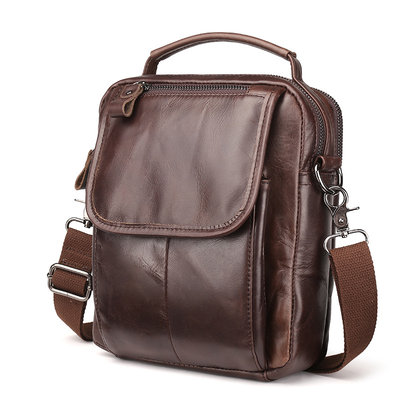 Genuine Cowhide Leather Mens Crossbody Shoulder Sling Bag Handbag Pouch Tote For Man Business Messenger Bag LS8894<br>