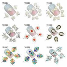 10 Pcs/Lot Bow Diamond Marquise Colorful Charms Rhinestones Nails Tools For Glitter 3D Nail Art Decorations TN1301-1309(China)