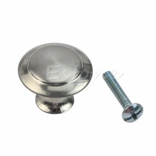F85  Kitchen Silver Stainless Steel Round Flat Head Cabinet Drawer Pull Knob