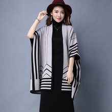 XJXKS Women cardigan cashmere autumn and winter new 2017 fashion shawl fashion high quality open stitch wrap 4 colors sweater(China)