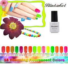 BlinkinGel UV Gel Nail Polish Neon Gel Lak Fluorescent Neon Nail Polish Shiny Geles UV Colores Bottle 6ml Pure Color 15 Colors(China)