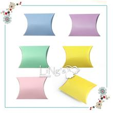 20 X Pillow Shape Candy Box Wedding Favor Gift Boxes Kids Birthday Party Decoration Pink/Lavender/Yellow/Light Blue/Green(China)