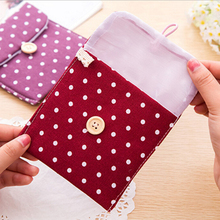 NEW 5 Colors Girls Female Bowknot Dot Hygiene Sanitary Napkins Pads Carrying Easy Bag Small Pouch Case Bag Package Storage 1PC