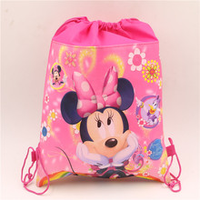1pcs\lot Non-woven Fabric Drawstring Gifts Bags Birthday Party Decoration Minnie Mickey Baby Shower Kids Favors supplies