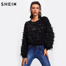 SHEIN Fringe Patch Mesh Top Sexy Autumn Womens Tops and Blouses Black Long Sleeve Round Neck Elegant Womens Tops(China)