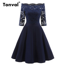 Buy Tonval Floral Lace Gorgeous Vintage Dress Sexy Women Shoulder Evening Party Dresses Navy Elegant Lady Autumn Dress for $21.21 in AliExpress store