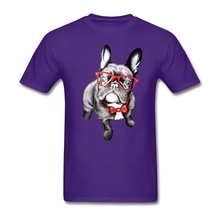 Luxury man happy Dog T-shirts Best Shirt Dog with Glasses 80s Custom Made tee shirt Size L toilette For handsome person(China)