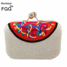 Brand Vintage Chinese Embroidery Clutch Bags Metal Frame Hard Case Purse Women Handbag Evening Party Bag Wedding Prom Clutches