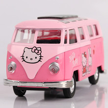1:36 alloy car models,high simulation Pink Cartoon Volkswagen Bus,metal diecasts,pull back & flashing&musical,free shipping(China)