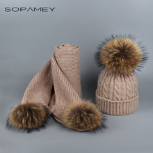 Hot Sale Raccoon Fur Ball Women's Knitted Pom Pom Warm Winter Scarves for Women Fashion Girl Skullies Beanies Female Scarf