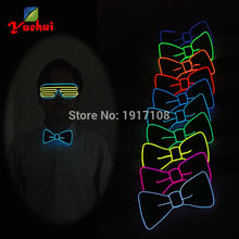 High quality 10 Color Available Blinking EL Bowtie LED Bow tie Light up By 2AA Battery For Men's Marriage Gift Party Supplies