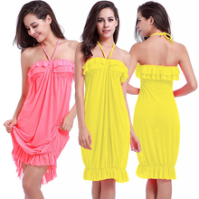 SWIMMART Original Design Flounced Top  n neck Halter Stretch Mesh 2016 multi Occasion Sexy Dress Ladies Beachwear S.M.L.XL