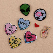 8pc/lot Football and Love Patches Stickers Computer Embroidery Hand Sewing Ironing Sticker On Cloth Garment Hat Bag Accessories