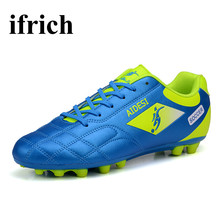 Football Shoes Children Blue/Black Soccer Cleats Men Cheap Ladies Football Boots Shock Absorbing Turf Soccer Shoes For Men(China)
