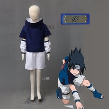 Athemis Naruto Uchiha Sasuke Cosplay Costume and blue headband custom made Any size(China)