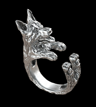wholesale retro punk German Shepherd Ring free size hippie animal  German Shepherd dog Ring jewelry for pet lovers 12pcs/lot