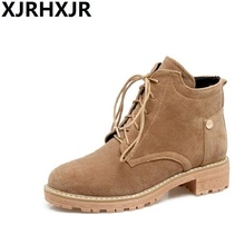 XJRHXJR New Arrival Autumn Winter Shoes Woman Flat Heel Martin Boots Female Young Gilrs Casual Ankle Boots Lace Up Short Boots(China)