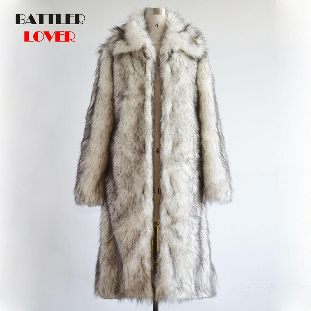 2019 Mens Fox Fur Coat North Winter Faux Fur Outwear Windbreaker Fur Coat Men