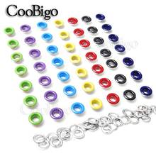 100pcs Hole 5mm Metal Colorful Eyelets with Gromment for Leathercraft DIY Scrapbooking Shoe Belt Cap Bag Tag Clothes Accessories
